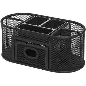 Lorell Mesh Steel Multipurpose Desktop Organizer, Black