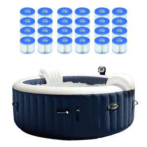Intex PureSpa Inflatable 4 Person Portable Hot Tub with 12 S1 Filter Cartridges