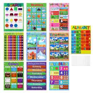 10pcs Educational Preschool Posters Charts for Preschoolers Toddlers Kids Kindergarten Classrooms