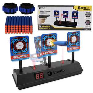 43pc Kit Electronic Digital Target for Nerf Blasters with Auto Scoring 40 Soft Darts 2 Wristbands for Practice