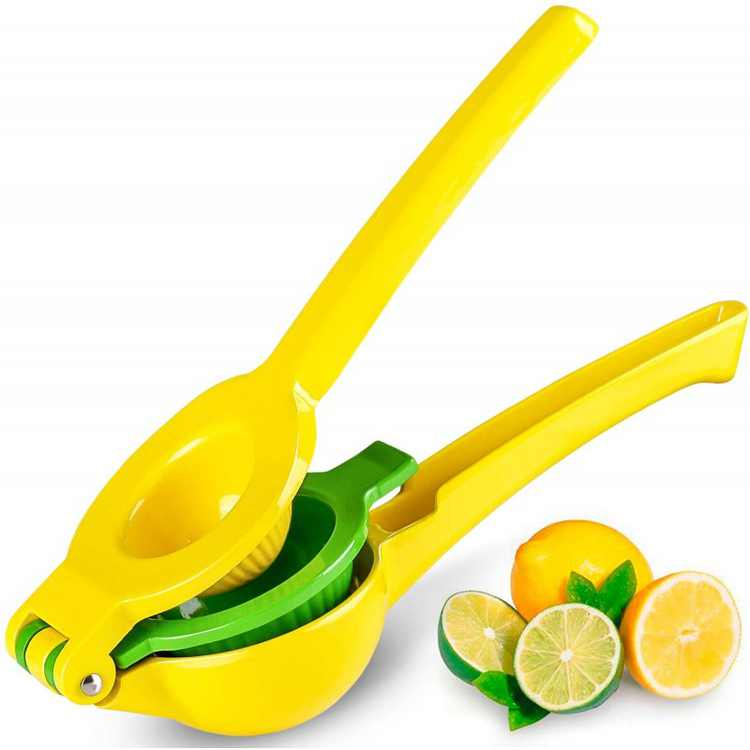 Meidong Lemon Squeezer Lime Handheld Press Manual Juicer Cocktail Mocktail Fruit Press with 2 in 1 Double Layers Yellow