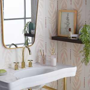 Peach and White Vintage Palm Peel and Stick Wallpaper by Drew Barrymore Flower Home