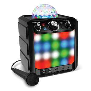 ION Audio Party Rocker Effects Black - Bluetooth Speaker with Light Show and Microphone