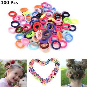 Fascigirl 100Pcs Hair Ties Cute Elastic No Crease No Damage Tiny Hair Bands Ponytail Holder Colorful Hair Accessories for Girls Teens Child Baby Girls Fine Hair, Curly Hair or Sensitive Scalps