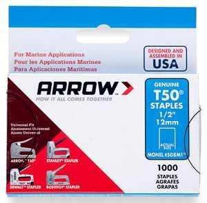Arrow Fastener 1/2-Inch T50 Monel Staples, 1000 Count