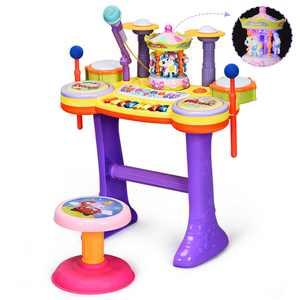 Costway 3in1 Kid Musical Instrument Piano Keyboard Drum Set w/Carousel Music Box & Stool