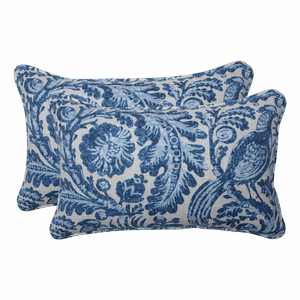 """Set of 2 Blue and White Floral with Pheasant Bird Printed Indoor/Outdoor Throw Pillows 18.5"""""""