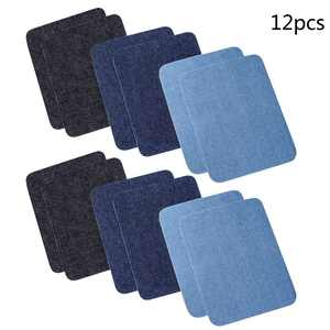 Follure3 Colors 12 PCS Iron On Denim Patches For Clothing Jeans