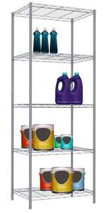 Home Basics Steel Wire Shelf with 5 Tiers, Gray