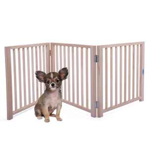 "Coziwow 17.5""H 3 Panel Pet Dog Fence Free Standing Folding Solid Wood Playpen Gate"
