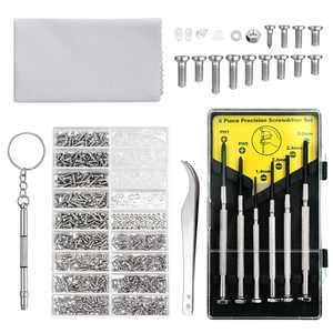 EEEkit Eyeglass Repair Tool Kit, with Eyeglass Screws & Nose Pads, 6pcs Small Precision Screwdriver Set, Curved Tip Tweezer and Cleaning Cloth for Eyeglasses, Sunglasses, Watch Clock Spectacle Repair