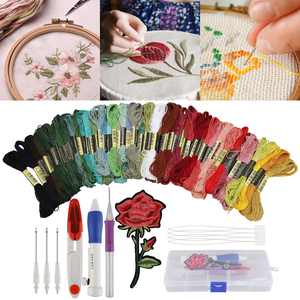 Embroidery Starter Kit Full Set, Magic Embroidery Pen Punch Needle Kit, 50 Color Threads, Magic Craft Tools Punch Needle Embroidery, DIY Embroidery Pen, Embroidery Needles Craft Tool, Embroidery Tools