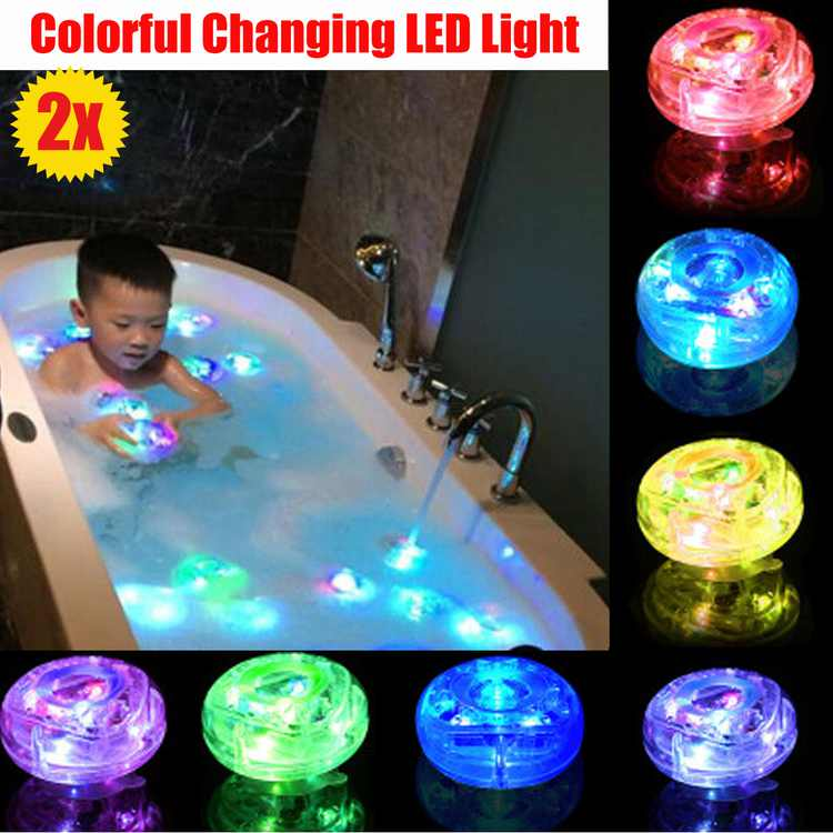 Waterproof 2PCS Bath Light Up Toys LED Lamp  Kids Baby Bathroom Shower Time Tub Swimming Pool Colorful Changing