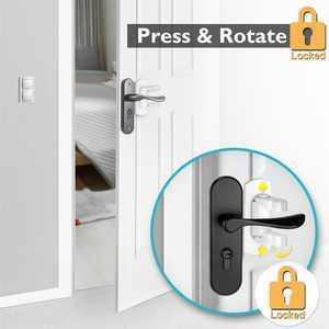 Child Safety Door Handle Locks, 4Pack Adhesive Baby Proof Door Lever Lock No Drill Quick Install Safety Locks for Door