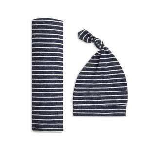 aden + anais snuggle knit swaddle gift set navy stripe