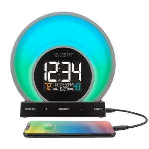 "La Crosse Technology 6.81"" x 2.69"" Digital Soluna Sunrise & Sunset LCD Light Alarm Clock with USB port, C80994"