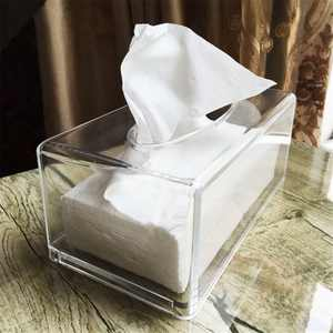 Acrylic Clear Transparent Tissue Box Cover Rectangular Holder Paper Storage Case