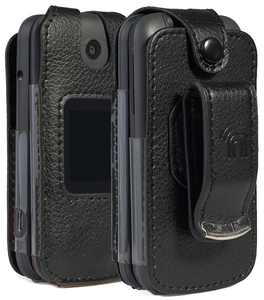Case for Alcatel Smartflip/Go Flip 3, Nakedcellphone [Black Vegan Leather] Form-Fit Cover with [Built-In Screen Protection] and [Metal Belt Clip] for Alcatel Go Flip 3, Alcatel Smartflip (2019)