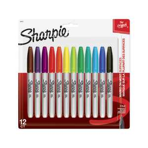 Sharpie Permanent Markers, Fine Point, Assorted Colors, 12 Count