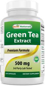 Best Naturals Green Tea Extract Weight Loss Supplement, Dietary Supplements, 500 mg, 250 Capsules