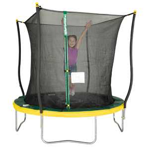 Bounce Pro 8' Trampoline, Flash Light Zone, Classic Safety Enclosure, Green/Yellow