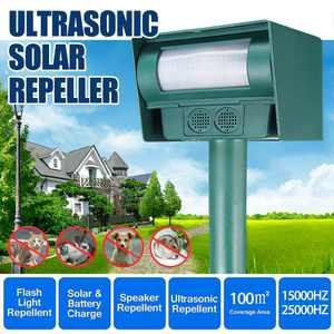 Solar/Battery Powered Yard Ultrasonic Animal Repeller with PIR Sensor Flash Light - Raccoon, Deer, Birds, Cats, Dogs, Mice, Squirrel, Skunk Control Repellent