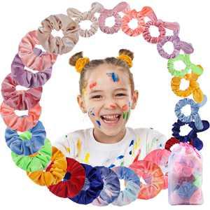 Hommie Hair Scrunchies, 3 Styles 24Pcs Velvet Elastic Hair Bands Hair Ties for Women Girls, Multi-color