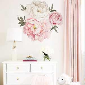 Pink Peony Flower Blossom Wall Stickers Kids Art Baby Nursery Decor Decal