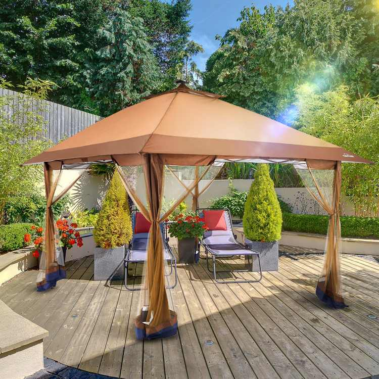 OUTDOOR LIVING SUNTIME 12' x 12' Outdoor Pop Up Gazebo Canopy with Mosquito Netting and Solar LED Light for Parties, Brown