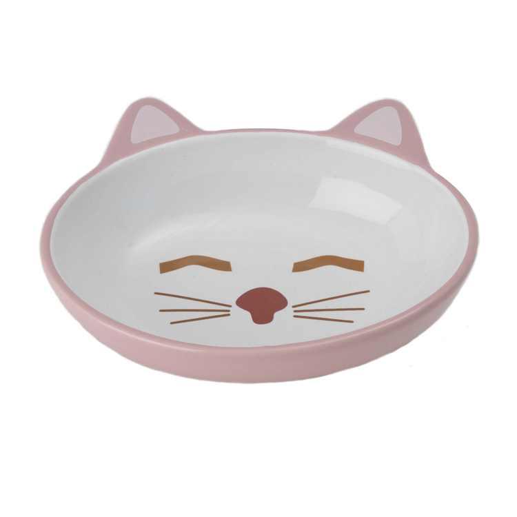 PetRageous Sleepy Kitty 5.5 inch 5.3 Ounce Oval Cat Saucer, Pink