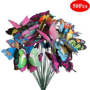 EEEkit 50 Pcs Garden Butterfly Stakes, Waterproof Butterflies Stakes 11.5inch Yard Garden Ornaments & Patio Decor Butterfly Party Supplies Yard Stakes Decorative for Outdoor Christmas Decorations