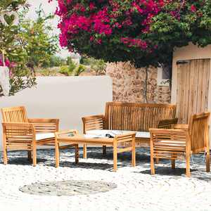 Costway 4 PCS Outdoor Acacia Wood Sofa Furniture Set Cushioned Chair Coffee Table Garden