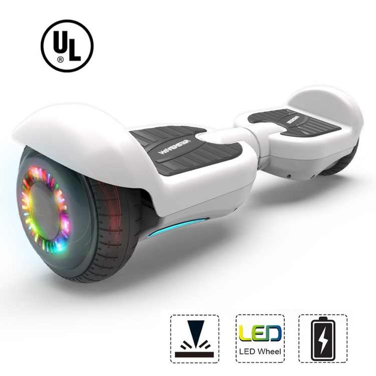"""Certified Flash Wheel Bluetooth Hoverboard 6.5"""" Self Balancing Wheel Electric Scooter -White"""