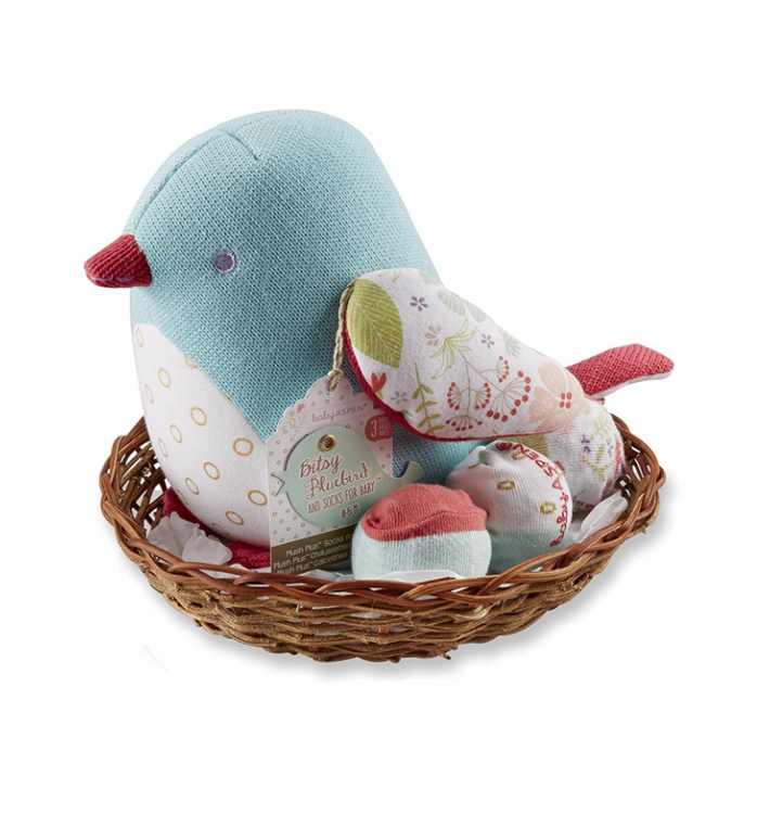 Baby Aspen Bitsy Bluebird Plush Plus Bird with Socks for Baby to Wear