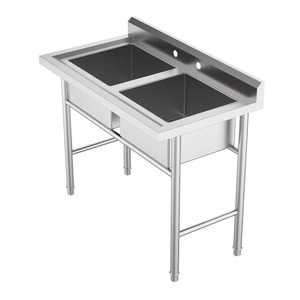 "Ktaxon Commercial 304 Stainless Steel Sink 2 Compartment Free Standing Utility Sink for Garage, Restaurant, Kitchen, Laundry Room, Outdoor, 37"" W x 22.5"" D x 40"" H"