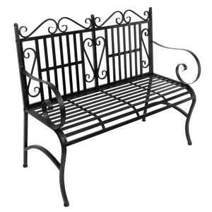 Artisasset Metal Garden Bench Chair 2 Seater for Garden, Yard, Patio Black