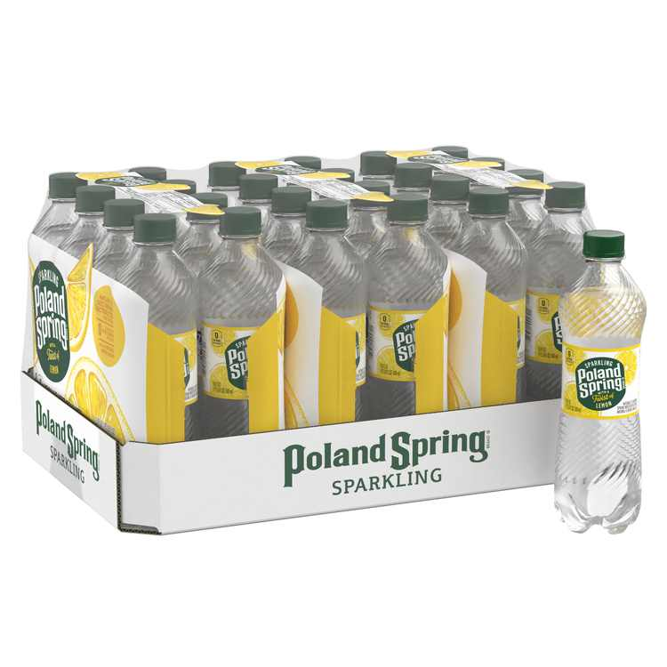 Poland Spring Sparkling Water, Lively Lemon, 16.9 oz. Bottles (24 Count)