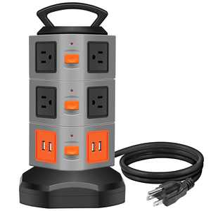 Surge Protector Power Strip, Costech Safety Universal Electric Charging Station; with 10 Outlets 4 USB/Rotating Tower/ 6 feet Cord Wire Extension Power Strip Tower (10 Outlets 4 USB)