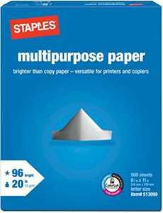 Staples Multipurpose Laser Inkjet Printer Paper, Bright White