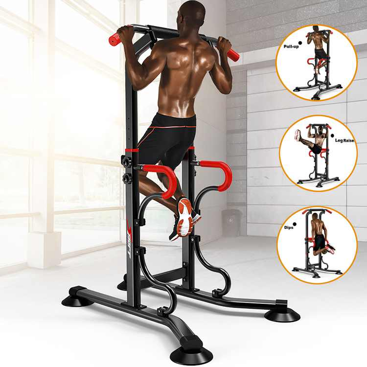 Power Tower Pull Up Bar Dip Station Dip Stands Multi Function Fitness Exercise Equipment for Pull up,Ab Crunches,Forearm Flexion, Push-ups,Supports to 330lbs