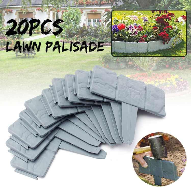Garden Fence Garden Border Edging Grey Stone Effect Lawn Edging Plant Bordering Cobblestone Yard Border,DIY Decor Landscape(20pcs/set)