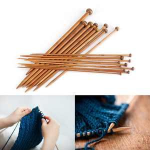 LHCER Bamboo Knitting Needles Set, Single Pointed Carbonized Knitting Needle 18 Sizes (2mm to 10mm), Knitting Needles Set, Bamboo Knitting Needles Set