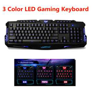 On Clearance LED 3 Color Backlit Illuminated USB Wired PRO Gaming Keyboard For Desktop