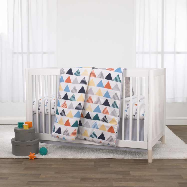 Little Love by NoJo Uni Triangles 3 Piece Crib Bedding Set - Navy, Orange, Grey and Yellow Triangles - Comforter, Fitted Crib Sheet and Dust Ruffle