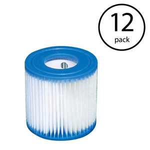Intex 29007E 330 GPH Swimming Pool Filter Cartridge Replacement Type H (12 Pack)