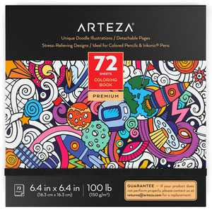 ARTEZA Coloring Book, Doodle Illustrations, Black Outlines, 72 sheets