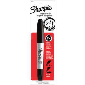 Sharpie Super Twin Tip Permanent Marker, Fine & Chisel Points, Black, 1 Pack