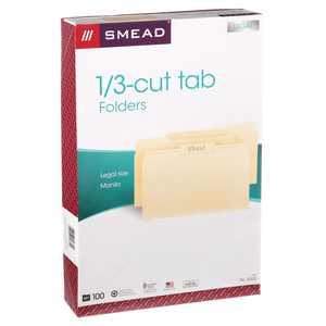 Smead Manila Folders 1/3-Cut Tabs 100/BX Legal (15330)
