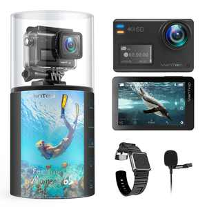 VanTop Moment 6S 4K/60FPS Action Camera, Dual Screen EIS Sports Camera, External Microphone, 5G Wifi, 30M Waterproof Underwater Camera, Gopro Compatible Accessories, 2 Batteries
