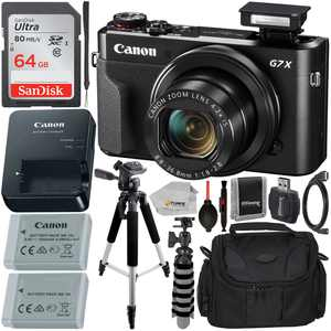 Canon PowerShot G7 X Mark II Digital Camera (Black) with Essential Accessory Bundle - Includes: SanDisk Ultra 64GB SDXC Memory Card, Extended Life Replacement Battery, Tripod, Carrying Case & More